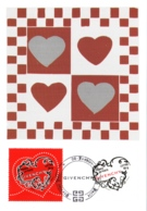 Carte Maximum YT 3996 Et 3997, 2 Coeurs Saint-Valentin Couture Givenchy, 1er Jour 06 01 2007 Paris 75 TBE Mode - Maximum Cards