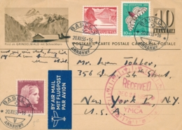 Schweiz - 1953 - 10c Postkarte + 3 Stamps - Airmail From Basel To New York / USA - Entiers Postaux