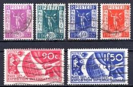 1936 FRANCE PARIS WORLD EXPOSITION MICHEL: 328-333 USED - Gebraucht