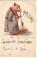 N°14393 - Carte Avec Paillettes - Souhaits Sincères 1904 - Cochon Habillé, Et Fumant Une Pipe - Anno Nuovo
