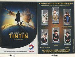 FRANCE Flyer Station Total - Verre TINTIN - Etat Neuf - Publicités