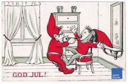 Carte Postale Ancienne Suède Joyeux Noël God Jul Lutin Bonnet Père Rouge Dentiste Arracheur De Dent Scandinave A32-59 - Autres