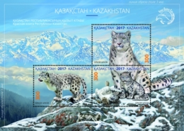 2017 Kazakhstan - Endangered Species Fauna Red Book Snow Leopard MS MNH** Mi Block92 (1020-1022) - Kasachstan