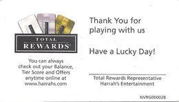 Harrah's Casino - Paper Total Rewards Account Balance Card - Casino Cards