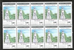 J) 1979 MEXICO, BLOCK OF 10, TOURIST, KING COLIMAN STATUE, COLIMA, SCOTT C616, MN - Mexico