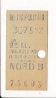 Ticket De Métro De Paris  ( Métropolitain ) 2me Classe  ( Station ) NORD B - Europa