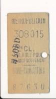 Ticket De Métro De Paris  ( Métropolitain ) 2me Classe ( Station ) HAVRE CAUMARTIN A - Europa