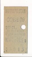 Ticket De Métro De Paris  ( Métropolitain ) 2me Classe ( Station ) HOTEL DE VILLE D - Europa