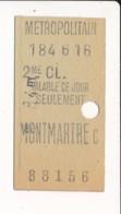 Ticket De Métro De Paris ( Métropolitain ) 2me Classe ( Station )  MONTMARTRE C - Europa