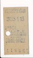 Ticket De Métro De Paris ( Métropolitain )  2me Classe  ( Station )  ETIENNE MARCEL - Europa