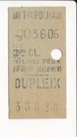 Ticket De Métro De Paris ( Métropolitain )  2me Classe  ( Station )  DUPLEIX - Europa