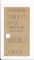 Ticket De Métro De Paris ( Métropolitain ) 2me Classe ( Station ) AUTEUIL B - Europa