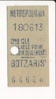 Ticket De Métro De Paris ( Métropolitain ) 2me Classe ( Station )  BOTZARIS ( Peu Courant ) - Europa