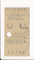 Ticket De Métro De Paris ( Métropolitain ) 2me Classe ( Station )  PASTEUR A - Europa