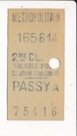Ticket De Métro De Paris ( Métropolitain ) 2me Classe ( Station )  PASSY A - Europa