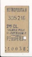 Ticket De Métro De Paris ( Métropolitain ) 2me Classe ( Station )  PCE DES FETES A  ( Place Des Fêtes ) - Europa