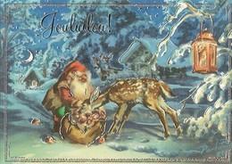 Elf - Gnome - Brownie Is Feeding Apples To The Deer By Raimo Partanen - Kerstmis