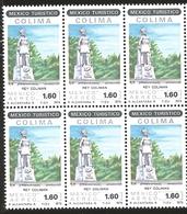 J) 1979 MEXICO, BLOCK OF 6, TOURIST, KING COLIMAN STATUE, COLIMA, SCOTT C616, MN - Mexico