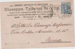 8855.   Cartolina Commerciale Giuseppe Tamma Fu Vito Bari Deposito Mercerie 1921 - Bari