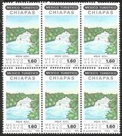 J) 1979 MEXICO, BLOCK OF 6, TOURIST, AGUA AZUL WATERFALL, CHIAPAS, SCOTT C615, MN - Mexico