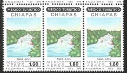 J) 1979 MEXICO, STRIP OF 3, TOURIST, AGUA AZUL WATERFALL, CHIAPAS, SCOTT C615, MN - Mexico