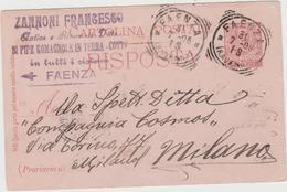 8856.   Cartolina Commerciale Zannoni Ditta Pipe Romagnole In Terra Cotta Faenza 1906 - Faenza
