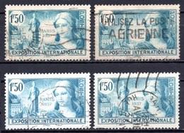 1937 FRANCE PARIS EXPOSITION 4x Sets MICHEL: 342 USED - Gebraucht
