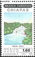 J) 1979 MEXICO, TOURIST, AGUA AZUL WATERFALL, CHIAPAS, SCOTT C615, MN - Mexico
