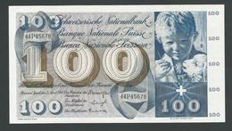 SUISSE  SWITZERLAND RARE 100 FRANCS  1964  UNC - Suiza