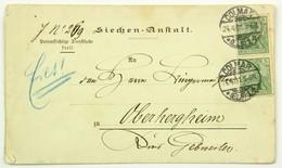 Colmar 1901 Avis De Décès De L'Hospice --> Oberhergheim, Affr. 10 Pf, Paire Germania 5 Pf - Alsace-Lorraine