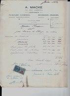 A. Macke. Lezennes. Peinture, Vitrerie, Décoration, Enseignes. à M. H. Rosseuw Pour Lettrage Sur Vitrine. 1952. - 1950 - ...
