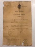 FRANCE - TRES RARE  -  Attribution Médaille Commémorative De La Campagne D'Italie - Datée Du 20 Septembre 1859 - Medals