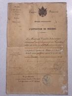 FRANCE - TRES RARE - Attribution Médaille Commémorative De L'expédition Du Mexique - Datée Du 01 Juillet 1864. - Médailles & Décorations