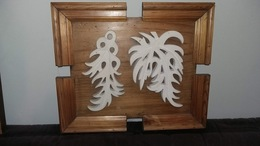 Oeuvre Originale, Pierre Sculptée Sur Tableau Bois - Autres