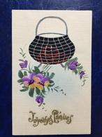"""Cpa Créateur--""""violettes Et Marmitte Brodée """"--(748)-handmade-painted By Hand - Pâques"""