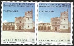 J) 1980 MEXICO, PAIR, ART AND SCIENCE OF MEXICO RELIGIOUS ARCHITECTURE OF THE XVI CENTURY, YURIRIA, GUANAJUATO, MN - Mexico