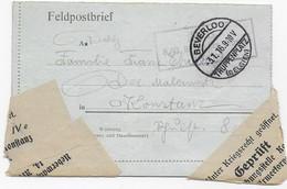 Feldpost 1. Weltkrieg - Beverloo Truppenplatz (Belgien) - Konstanz - Zensur Überwachungsstelle Konstanz - Deutschland