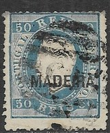 Madiera     1880   Sc#25  50r  Blue Used   2016 Scott Value $55 - Madeira