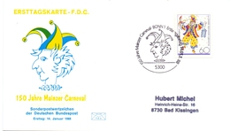 GERMANY FDC POST CARD   150 JAHRE MAINZERCARNEVAL 1988 (FEB20596) - [6] Oost-Duitsland