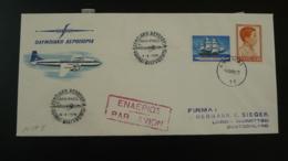 Lettre Premier Vol First Flight Cover Athens Frankfurt Olympic Airways 1958 - Greece