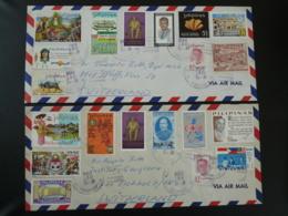 Lettre Par Avion Air Mail Cover (x2) Baguio City Philippines --> Switzerland 1972 - Philippines