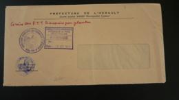 Lettre Grève Postale PTT Pli De Service Préfecture De L'Hérault 34 Montpellier 1974 (ex 1) - Poststempel (Briefe)