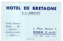 HOTEL DE BRETAGNE 1, PLACE DUCLOS, DINAN ( Côtes D'Armor 22 ) CARTE DE 12 X 8 - Advertising
