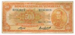 Venezuela 500 Bolivares, 1958,  F/VF. Rare. - Venezuela