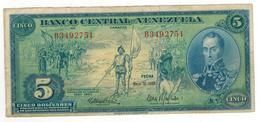 Venezuela 5 Bolivares, 1966,  Comm. Issue. VF. - Venezuela