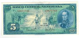 Venezuela 5 Bolivares, 1966,  Comm. Issue. XF/aUNC (watch Graff. On Back) - Venezuela
