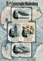 BURUNDI 2012 - Hindenburg Disaster & Zeppelins M/S. Official Issues. - Burundi