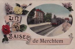 RPCP : Merchtem : Un Baiser,  Stoomtrein, Train à Vapeur, Photo Of Old Postcard, 2 Scans - Trains