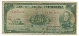 Venezuela 20 Bolivares, 1961. VG/F. - Venezuela