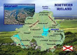 Northern Ireland Country Map New Postcard Nordirland Landkarte AK - Otros